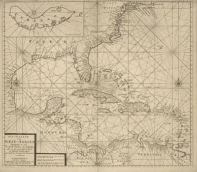Antique Map Of The Caribbean By Johannes Loots - Circa 1705 Print by Blue Monocle
