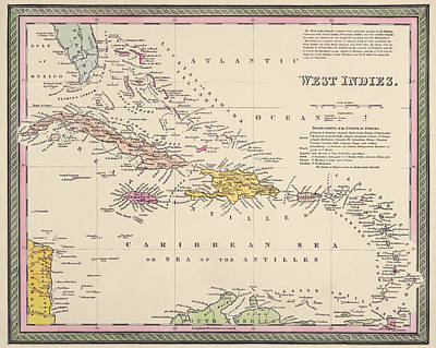 West Indies Drawing - Antique Map Of The Caribbean By Samuel Augustus Mitchell - 1849 by Blue Monocle