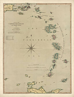 West Indies Drawing - Antique Map Of The Caribbean - Lesser Antilles - By Mathew Richmond - 1789 by Blue Monocle