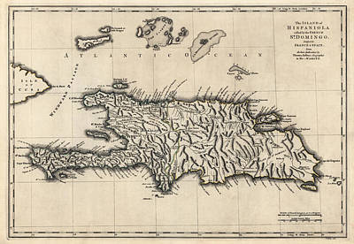 Antique Map Of The Dominican Republic And Haiti By Thomas Jefferys - 1768 Print by Blue Monocle