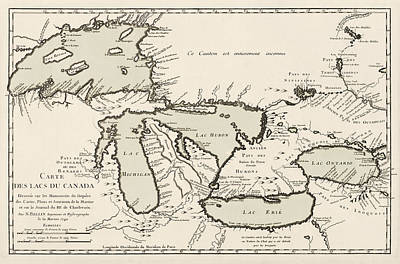 Jacques Drawing - Antique Map Of The Great Lakes By Jacques Nicolas Bellin - 1742 by Blue Monocle