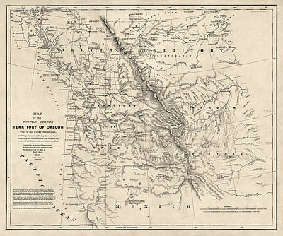Antique Map Of The Pacific Northwest By Washington Hood - 1838 Print by Blue Monocle