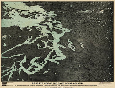 Seattle Drawing - Antique Map Of The Puget Sound Washington By Charles H. Baker And Co. - 1891 by Blue Monocle