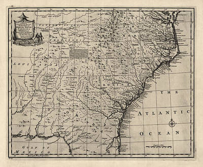 North Carolina Drawing - Antique Map Of The Southern American Colonies By Emanuel Bowen - 1752 by Blue Monocle