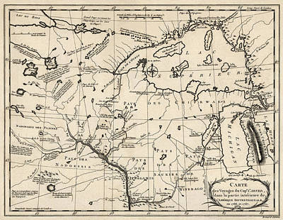 Great Drawing - Antique Map Of The Upper Midwest Us  And Great Lakes By Benard - Circa 1768 by Blue Monocle