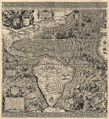 Discovery Drawing - Antique Map Of The Western Hemisphere By Diego Gutierrez - 1562 by Blue Monocle