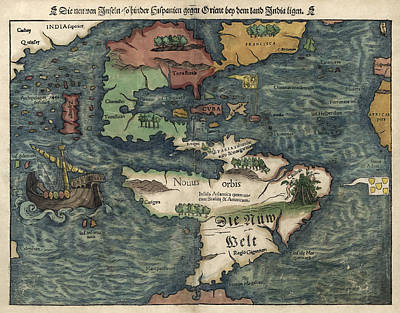 Discovery Drawing - Antique Map Of The Western Hemisphere By Sebastian Munster - Circa 1550 by Blue Monocle