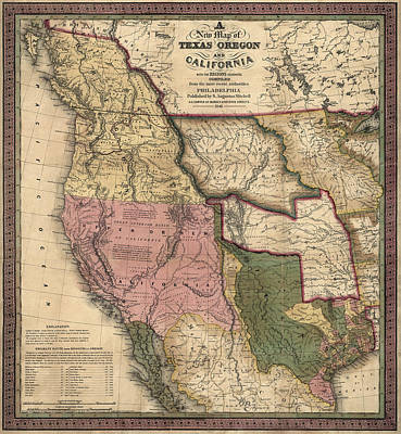 West Drawing - Antique Map Of The Western United States By Samuel Augustus Mitchell - 1846 by Blue Monocle