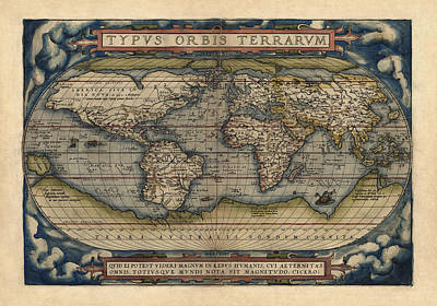 Map Of The World Drawing - Antique Map Of The World By Abraham Ortelius - 1570 by Blue Monocle