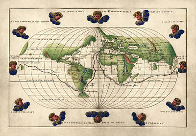 Discovery Drawing - Antique Map Of The World By Battista Agnese - Circa 1544 by Blue Monocle