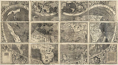 Old Drawing - Antique Map Of The World By Martin Waldseemuller - 1507 by Blue Monocle