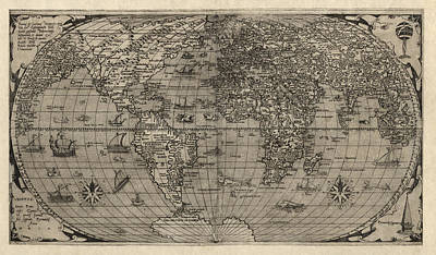 Paolo Drawing - Antique Map Of The World By Paolo Forlani - 1560 by Blue Monocle