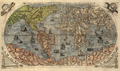 Map Of The World Drawing - Antique Map Of The World By Paolo Forlani - 1565 by Blue Monocle