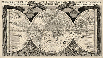 Discovery Drawing - Antique Map Of The World By Philipp Eckebrecht - 1630 by Blue Monocle