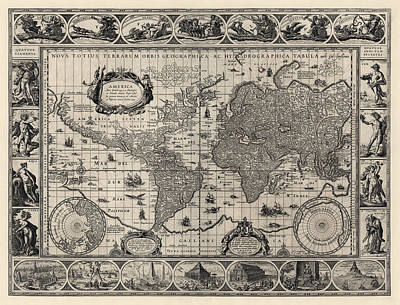 Discovery Drawing - Antique Map Of The World By Willem Janszoon Blaeu - 1606 by Blue Monocle