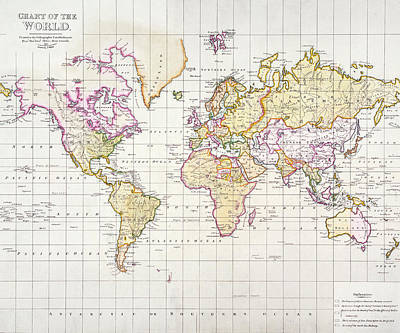 Chart Painting - Antique Map Of The World by James The Elder Wyld