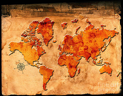 World Map Poster Photograph - Antique Map Of The World by Lane Erickson