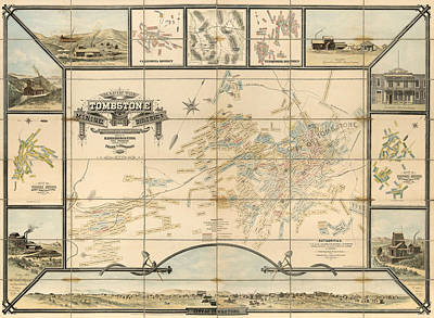 University Of Arizona Drawing - Antique Map Of Tombstone Arizona By Frank S. Ingoldsby - 1881 by Blue Monocle