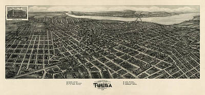 Tulsa Drawing - Antique Map Of Tulsa Oklahoma By Fowler And Kelly - 1918 by Blue Monocle