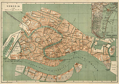 Antique Drawing - Antique Map Of Venice Italy By Wagner And Debes - Circa 1886 by Blue Monocle