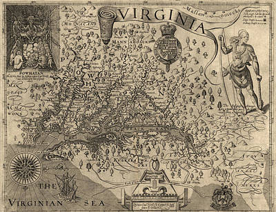 Virginia Drawing - Antique Map Of Virginia And Maryland By John Smith - 1624 by Blue Monocle