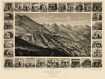 Virginia Drawing - Antique Map Of Virginia City Nevada By Charles Conrad Kuchel - 1861 by Blue Monocle