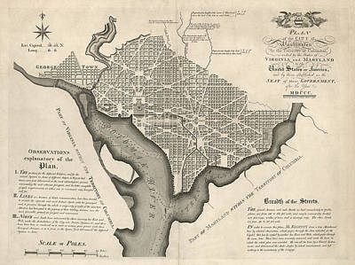 Washington Drawing - Antique Map Of Washington Dc By Andrew Ellicott - 1792 by Blue Monocle