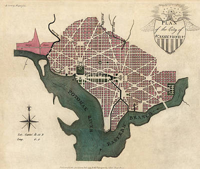 Washington Dc Drawing - Antique Map Of Washington Dc By J. Good - 1793 by Blue Monocle