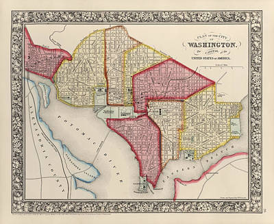 The White House Drawing - Antique Map Of Washington Dc By Samuel Augustus Mitchell - 1863 by Blue Monocle