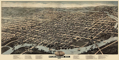 Antique Map Of Wilmington Delaware By H. H. Bailey And Co. - 1874 Print by Blue Monocle