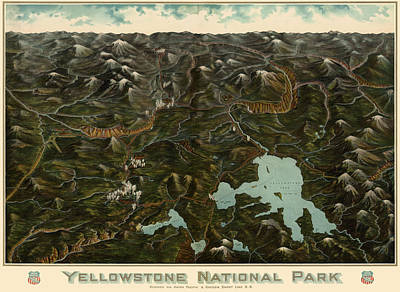 Company Drawing - Antique Map Of Yellowstone National Park By The Union Pacific Railroad Co. - Circa 1900 by Blue Monocle