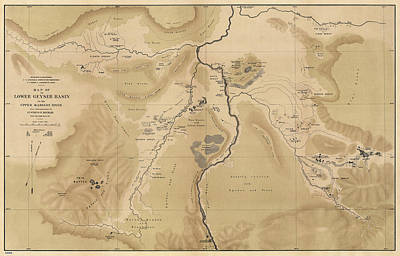 National Park Drawing - Antique Map Of Yellowstone National Park - Lower Geyser Basin - 1872 by Blue Monocle