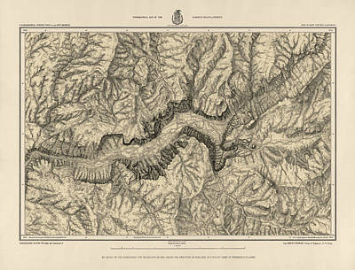 Antique Map Of Yosemite National Park By George M. Wheeler - Circa 1884 Print by Blue Monocle