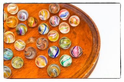 Board Game Photograph - Antique Marbles - Vintage Toys by Colleen Kammerer