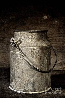 Old Milk Jugs Photograph - Antique Milk Bucket by John Stephens