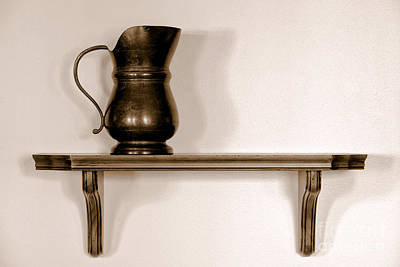 Old Pitcher Photograph - Antique Pewter Pitcher On Old Wood Shelf by Olivier Le Queinec