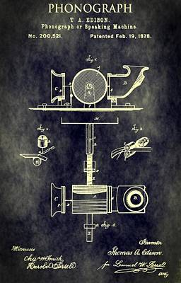 Antique Phonograph Patent Print by Dan Sproul