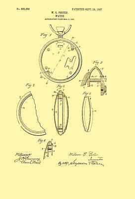 1907 Drawing - Antique Pocket Watch Patent 1907 by Mountain Dreams