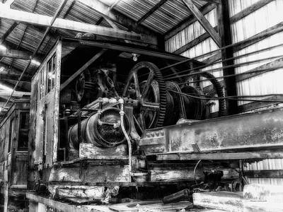 Antique Railroad Crane Black And White Print by Thomas Woolworth