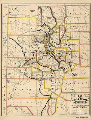 Denver Drawing - Antique Railroad Map Of Colorado And New Mexico By S. W. Eccles - 1881 by Blue Monocle