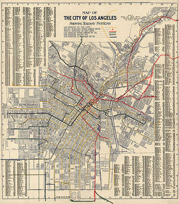 Los Angeles Drawing - Antique Railroad Map Of Los Angeles - 1906 by Blue Monocle