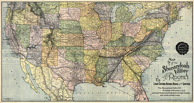 Company Drawing - Antique Railroad Map Of The United States - 1890 by Blue Monocle