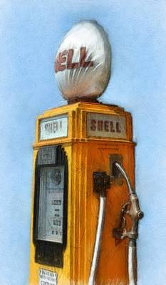 Antique Shell Gas Pump Print by Michelle Calkins
