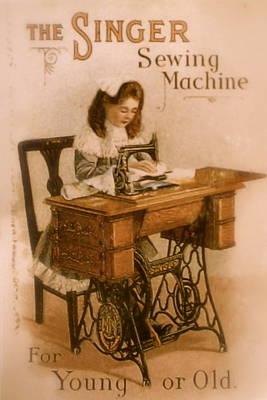 Antique Singer Sewing Machine Print by Julie Butterworth