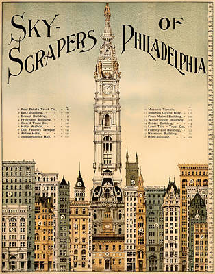 Pennsylvania Drawing - Antique Skyscrapers Of Philadelphia Poster 1898 by Mountain Dreams