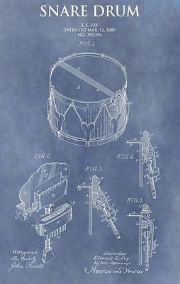 Drum Digital Art - Antique Snare Drum Patent by Dan Sproul
