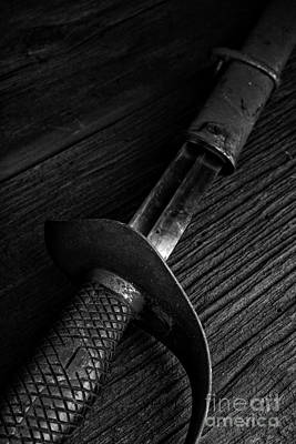 Antique Sword Black And White Print by Edward Fielding