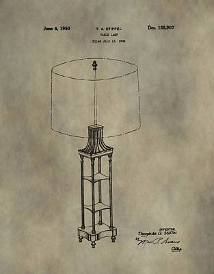 The Houses Mixed Media - Antique Table Lamp Patent by Dan Sproul