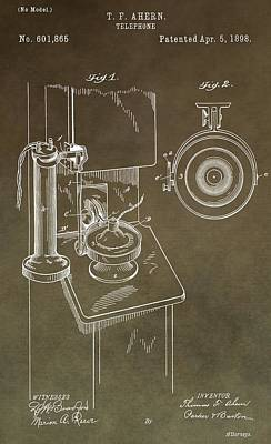 Old Phone Booth Photograph - Antique Telephone Patent by Dan Sproul