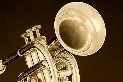 Music Photograph - Antique Trumpet by M K  Miller